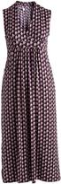 Glam Black & Purple Geometric Surplice Dress - Plus