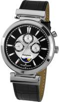 Jacques Lemans Verona Men's 44mm Leather Stainless Steel Case Date Watch 1-1698A