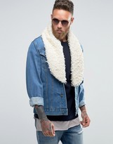 Asos Faux Fur Collar In White