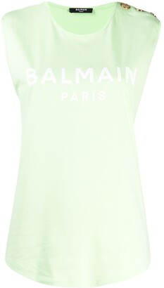 Balmain Button-Embellished Logo Tank Top