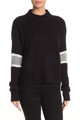 John & Jenn Varsity Stripe Mock Neck Pullover Sweater