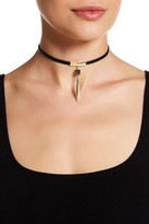 Stephan & Co Faux Leather Bar Drop Choker