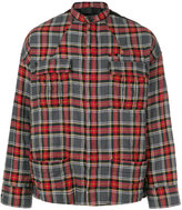 Haider Ackermann checked shirt jacket - men - Cotton/Leather/Polyurethane/Rayon - M