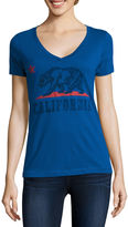 Fifth Sun Short Sleeve V Neck T-Shirt-Juniors