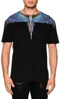 Marcelo Burlon County of Milan Multi Feather-Print Short-Sleeve Tee, Black Multi