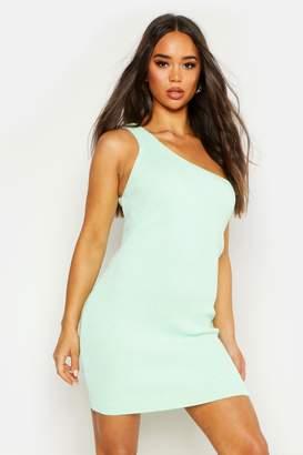 boohoo Knitted One Shoulder Mini Dress
