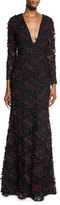 Sachin + Babi Long-Sleeve Beaded Lace Gown, Onyx