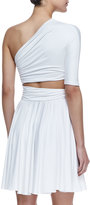 Cushnie et Ochs Dondi One-Shoulder Cutout Waist Dress, White