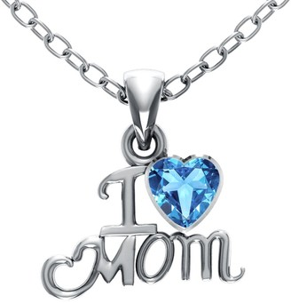 Essence Jewelry Country Of Blue Topaz Sterling Silver Heart Short Pendent by Essence Jewelry
