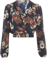 Love **V-Neck Long Sleeve Printed Cropped Top