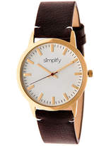 Simplify Unisex The 2800 Dark Brown Leather-Band Watch SIM2805