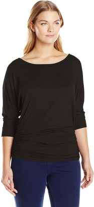 Star Vixen Women's Plus-Size Scoop Neck 3/4 Sleeve Side Shirring Comfy Knit Tunic Top