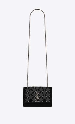 Saint Laurent Monogram Kate Kate Small In Suede Decorated With Leather Stars And Studs Black Onesize