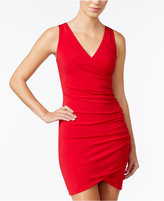 Amy Byer Juniors' Ruched Beaded-Back Surplice Dress