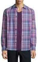 Vince Plaid Long-Sleeve Shirt, Pink