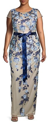 Adrianna Papell Plus Floral Column Gown