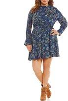 Blu Pepper Plus Long Sleeve Mock Neck Dress