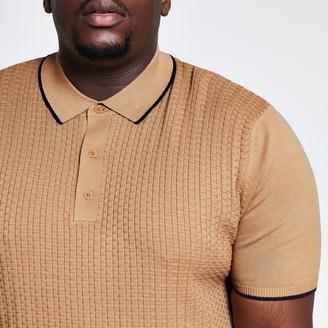River Island Mens Big & tall Beige textured slim fit polo shirt