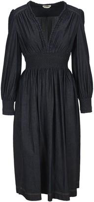 Fendi V-Neck Pleated Denim Dress