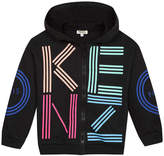 Kenzo Girl's Multicolored Logo Print Hooded Fleece Jacket, Size 8-12