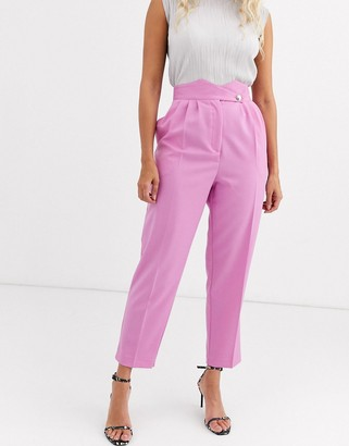 ASOS DESIGN high waist tapered trousers with button detail