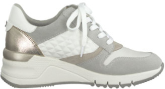 Tamaris White and Gold Wedge Trainer Shoes - 36