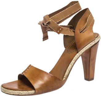 Celine Brown Leather Espadrille Ankle Wrap Open Toe Sandals Size 40