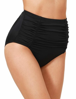 Dobreva Women's High Waisted Retro Bikini Bottoms High Cut Swimsuits Tankinis Black 16