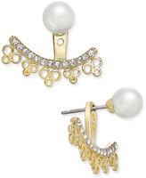 Kate Spade Gold-Tone Imitation Pearl Stud Crystal Filigree Earring Jackets