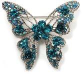 Avalaya Dazzling Teal Coloured Swarovski Crystal Butterfly Brooch (Silver Tone)