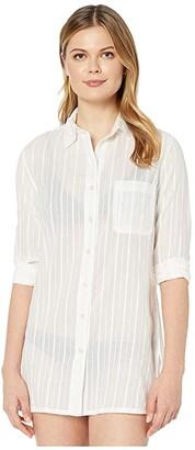Lauren Ralph Lauren Stripe Cover-Ups Stripe Camp Shirt (Gold/White) Women's Swimwear