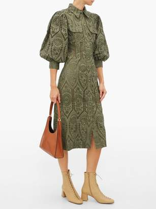 Ganni Balloon-sleeve Broderie-anglaise Cotton Shirtdress - Womens - Khaki