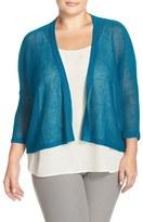 Eileen Fisher Organic Linen Mesh Knit Cardigan (Plus Size)