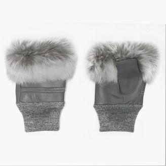 Jayley Fur Trim Grey Leather Fingerless Mitts