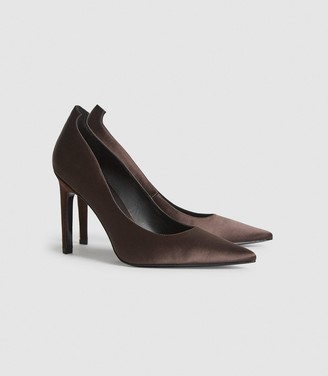 Reiss Hepburn - Satin Court Shoes in Brown