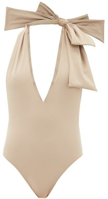 Fendi Bow-shoulder Halterneck Swimsuit - Beige