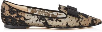 Jimmy Choo GALA Black Floral Lace Pointy Toe Flats