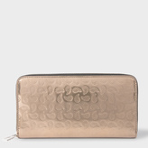 Paul Smith Women's Large Gold Paisley Embossed Leather Zip-Around Purse
