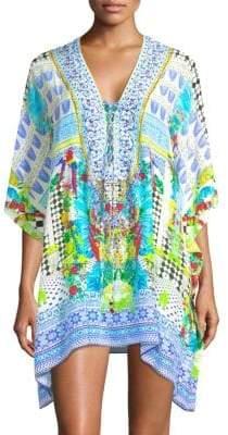 Camilla Short Lace-Up Silk Caftan