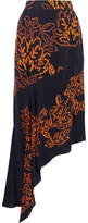 Peter Pilotto Embroidered Silk Skirt - Navy