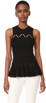Jonathan Simkhai Sleeveless Laced Pointelle Peplum Top
