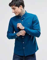 Farah Oxford Shirt In Slim Fit Blue
