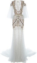 Marchesa Pearl Necklace Tulle Gown