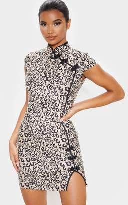 Pure Brown Leopard Oriental Bodycon Dress