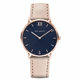 PAUL HEWITT Sailor Line Blue Lagoon - Rose Gold Stainless Steel Watch for Women with Hazelnut Leather Bracelet Blue Dial
