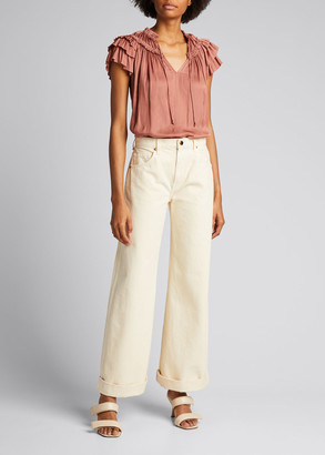 Ulla Johnson Elissa Flutter-Sleeve Top