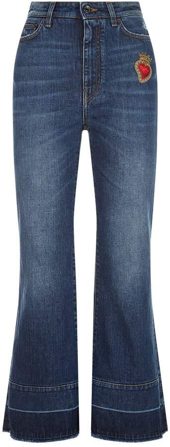 Dolce & Gabbana Crop Flare Appliqué Jeans