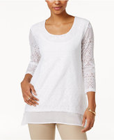 JM Collection Petite Layered-Look Lace Tunic, Only at Macy's