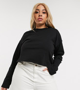 Asos DESIGN Curve boxy crop t-shirt with overlock in black