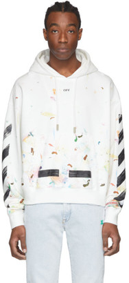 Off-White Off White SSENSE Exclusive White Galaxy Brush Hoodie